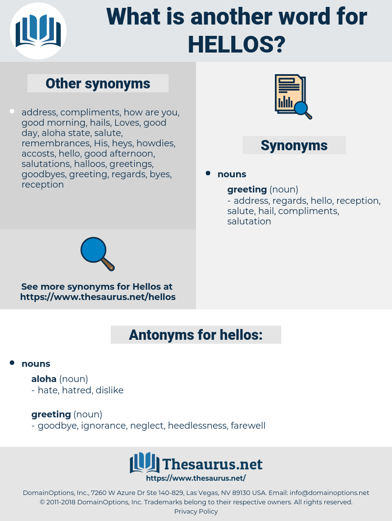 hellos, synonym hellos, another word for hellos, words like hellos, thesaurus hellos