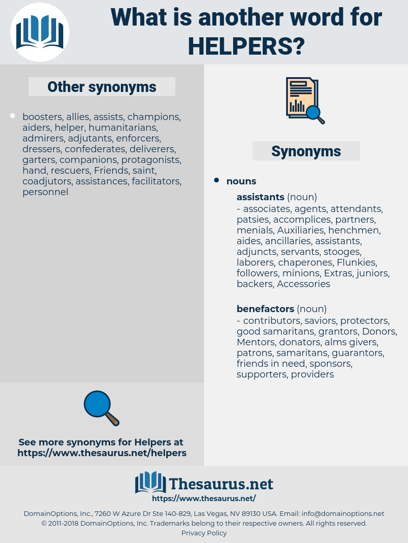 helpers, synonym helpers, another word for helpers, words like helpers, thesaurus helpers