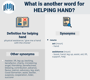 helping hand, synonym helping hand, another word for helping hand, words like helping hand, thesaurus helping hand