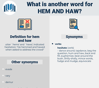 hem and haw, synonym hem and haw, another word for hem and haw, words like hem and haw, thesaurus hem and haw