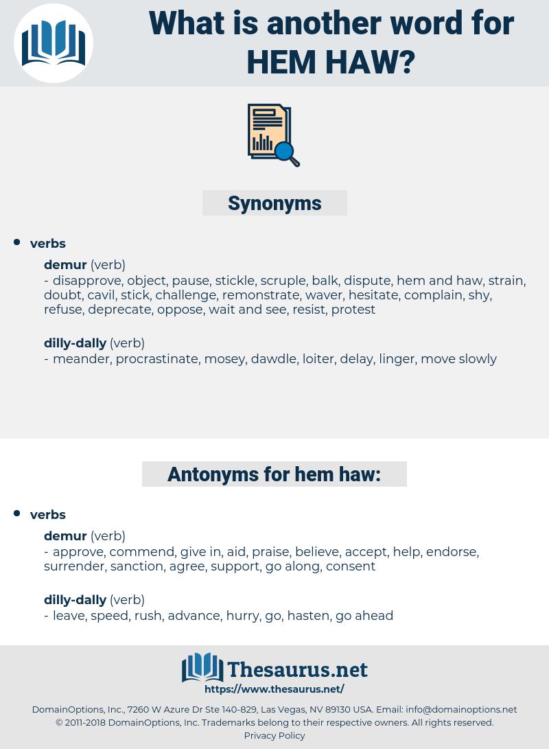 hem haw, synonym hem haw, another word for hem haw, words like hem haw, thesaurus hem haw
