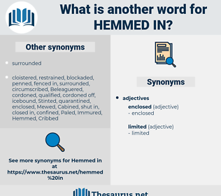 hemmed in, synonym hemmed in, another word for hemmed in, words like hemmed in, thesaurus hemmed in
