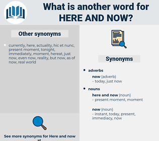 here and now, synonym here and now, another word for here and now, words like here and now, thesaurus here and now