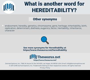 Hereditability, synonym Hereditability, another word for Hereditability, words like Hereditability, thesaurus Hereditability