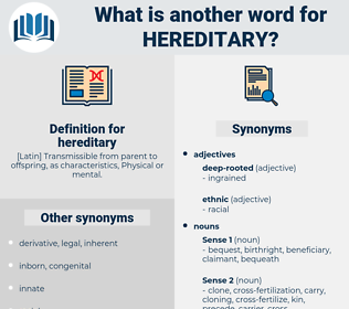 hereditary, synonym hereditary, another word for hereditary, words like hereditary, thesaurus hereditary