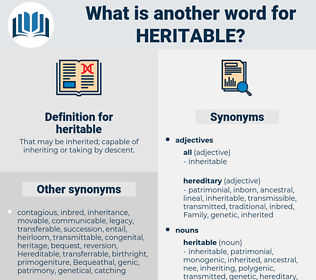 heritable, synonym heritable, another word for heritable, words like heritable, thesaurus heritable