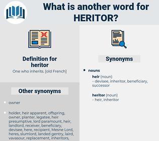 heritor, synonym heritor, another word for heritor, words like heritor, thesaurus heritor