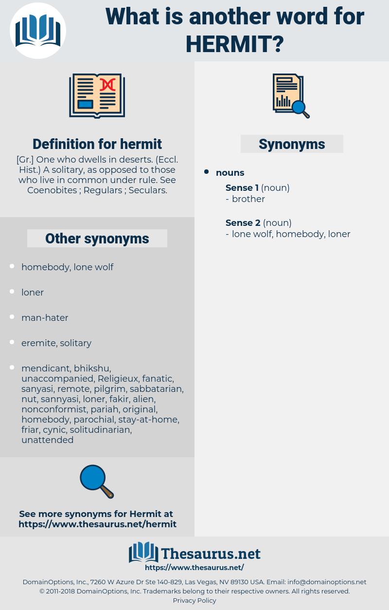 hermit, synonym hermit, another word for hermit, words like hermit, thesaurus hermit