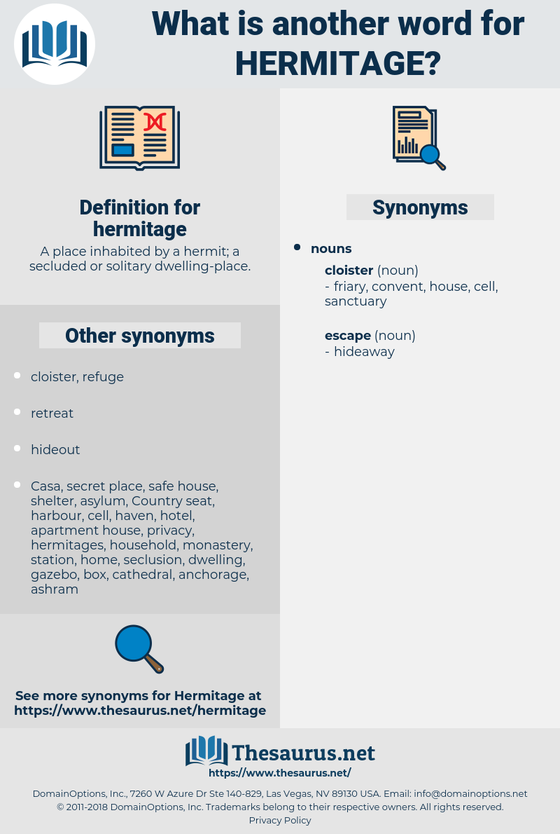 hermitage, synonym hermitage, another word for hermitage, words like hermitage, thesaurus hermitage