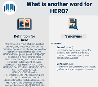 hero, synonym hero, another word for hero, words like hero, thesaurus hero