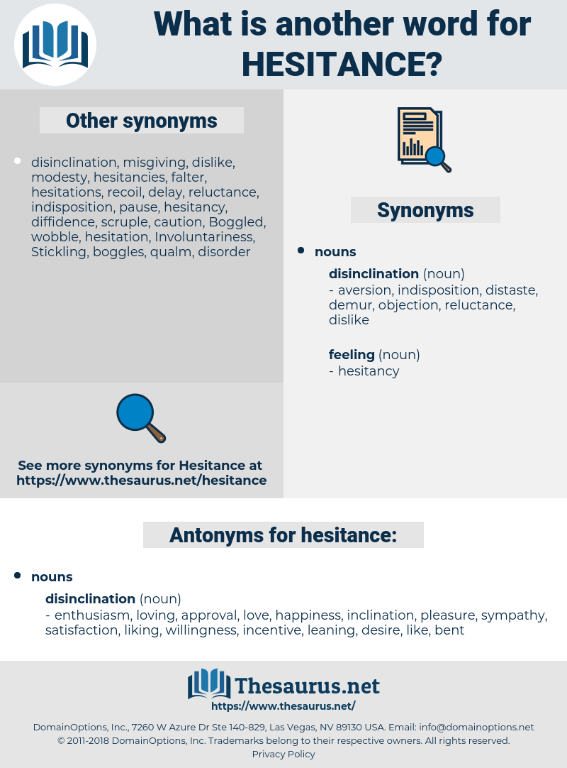 hesitance, synonym hesitance, another word for hesitance, words like hesitance, thesaurus hesitance