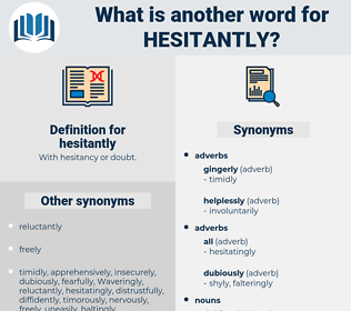 hesitantly, synonym hesitantly, another word for hesitantly, words like hesitantly, thesaurus hesitantly