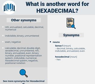 hexadecimal, synonym hexadecimal, another word for hexadecimal, words like hexadecimal, thesaurus hexadecimal