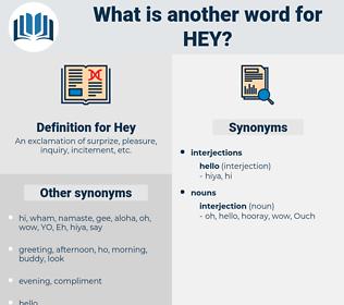 Hey, synonym Hey, another word for Hey, words like Hey, thesaurus Hey