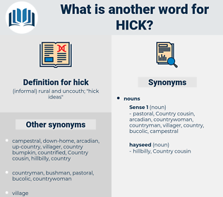 hick, synonym hick, another word for hick, words like hick, thesaurus hick
