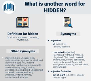 hidden, synonym hidden, another word for hidden, words like hidden, thesaurus hidden