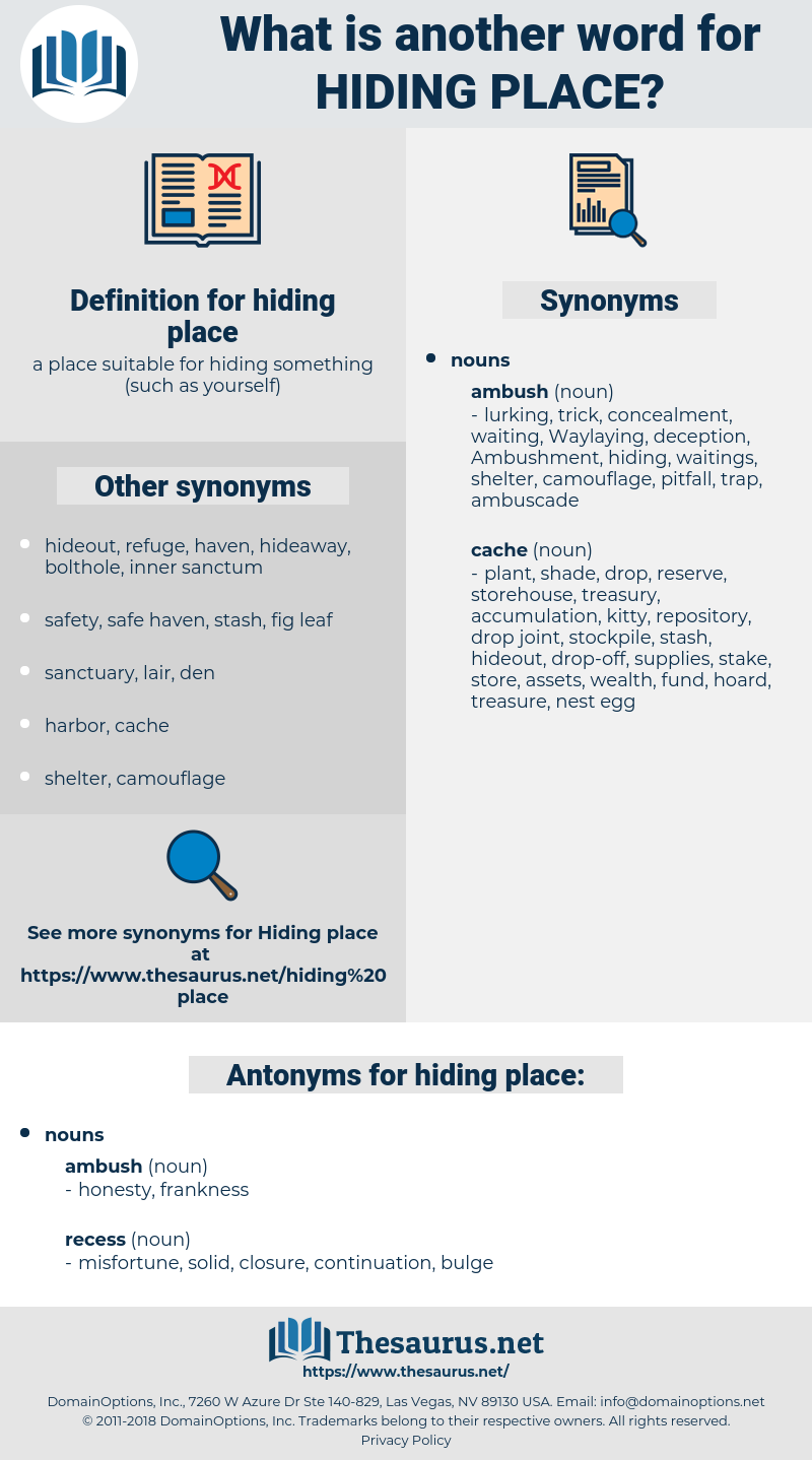 hiding place, synonym hiding place, another word for hiding place, words like hiding place, thesaurus hiding place