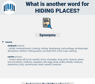 hiding places, synonym hiding places, another word for hiding places, words like hiding places, thesaurus hiding places