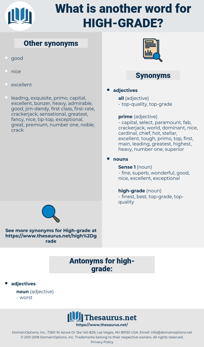 high-grade, synonym high-grade, another word for high-grade, words like high-grade, thesaurus high-grade