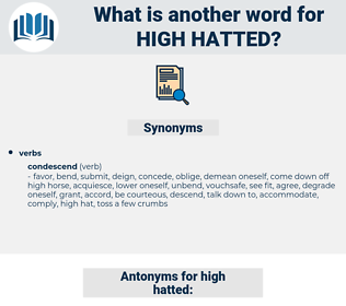 high hatted, synonym high hatted, another word for high hatted, words like high hatted, thesaurus high hatted