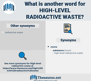 high-level radioactive waste, synonym high-level radioactive waste, another word for high-level radioactive waste, words like high-level radioactive waste, thesaurus high-level radioactive waste