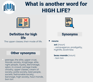 high life, synonym high life, another word for high life, words like high life, thesaurus high life