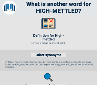 High-mettled, synonym High-mettled, another word for High-mettled, words like High-mettled, thesaurus High-mettled