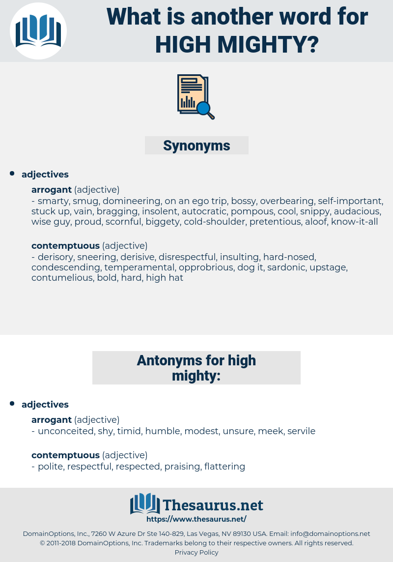 high mighty, synonym high mighty, another word for high mighty, words like high mighty, thesaurus high mighty