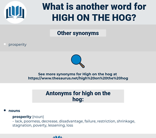 high on the hog, synonym high on the hog, another word for high on the hog, words like high on the hog, thesaurus high on the hog