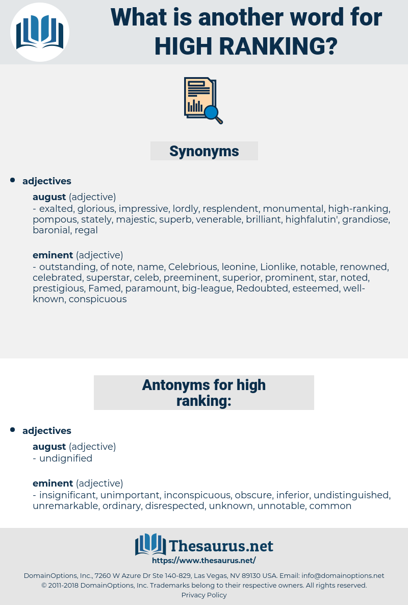 high-ranking, synonym high-ranking, another word for high-ranking, words like high-ranking, thesaurus high-ranking