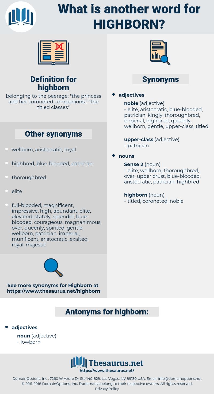 highborn, synonym highborn, another word for highborn, words like highborn, thesaurus highborn