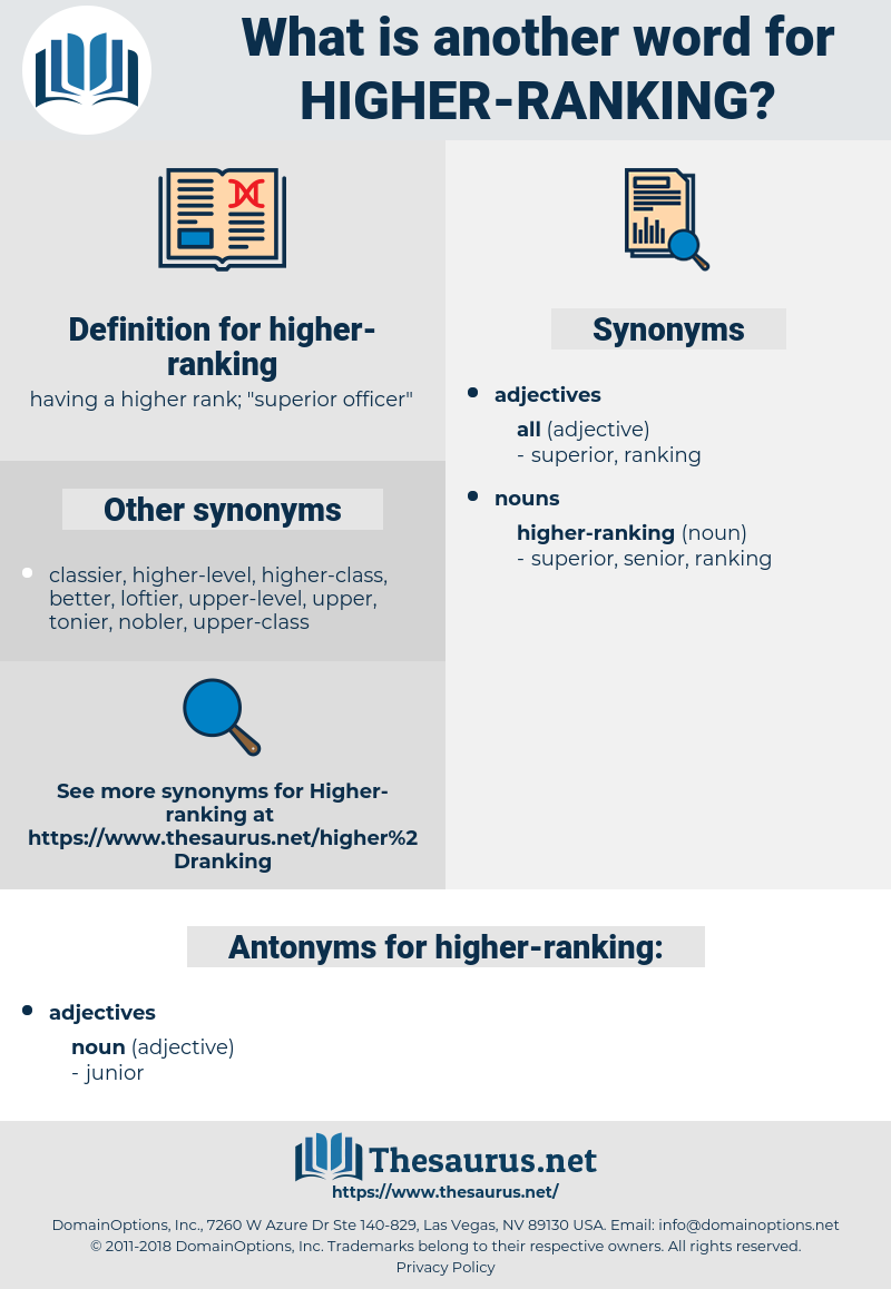 higher-ranking, synonym higher-ranking, another word for higher-ranking, words like higher-ranking, thesaurus higher-ranking