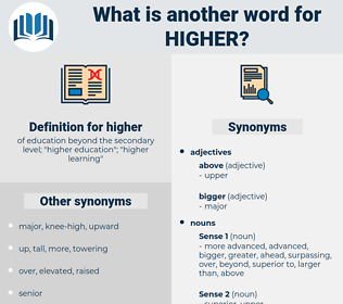 higher, synonym higher, another word for higher, words like higher, thesaurus higher