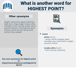 highest point, synonym highest point, another word for highest point, words like highest point, thesaurus highest point
