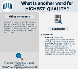 highest-quality, synonym highest-quality, another word for highest-quality, words like highest-quality, thesaurus highest-quality