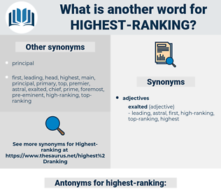 highest-ranking, synonym highest-ranking, another word for highest-ranking, words like highest-ranking, thesaurus highest-ranking