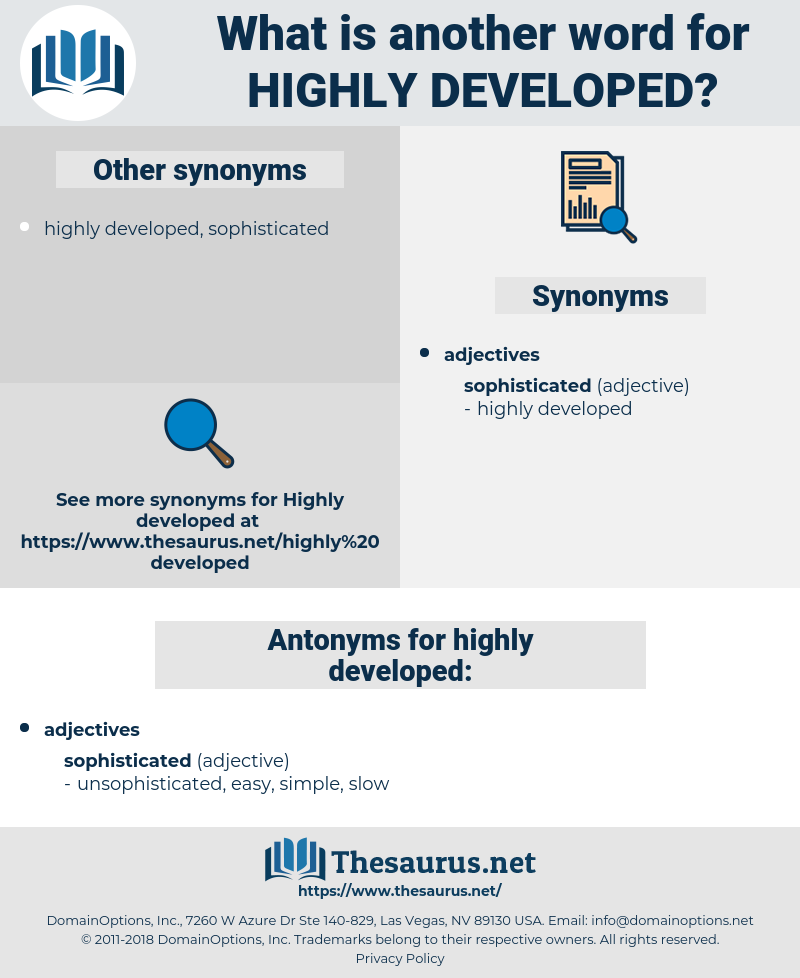 Synonyms For Highly Developed Antonyms For Highly Developed