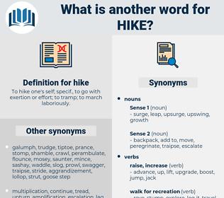 hike, synonym hike, another word for hike, words like hike, thesaurus hike