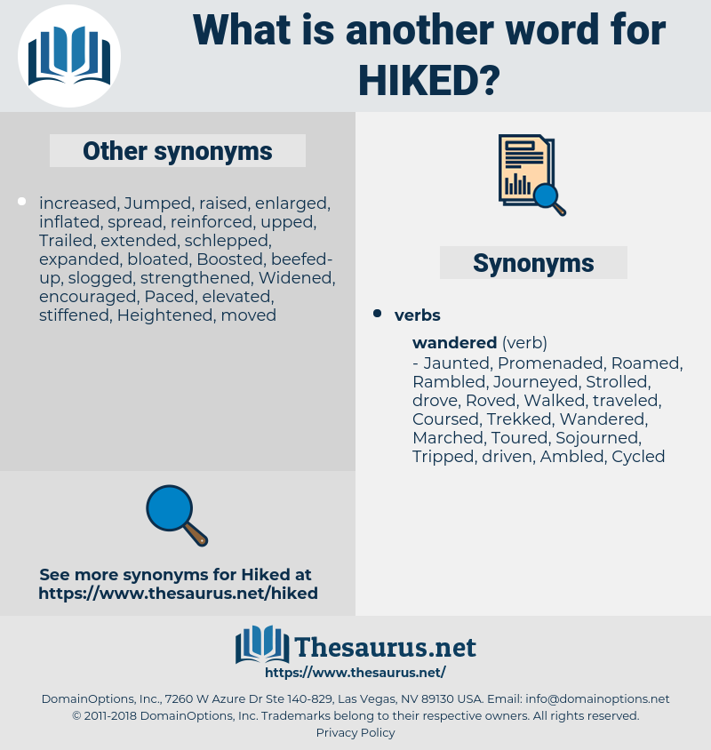 Hiked, synonym Hiked, another word for Hiked, words like Hiked, thesaurus Hiked