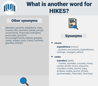 hikes, synonym hikes, another word for hikes, words like hikes, thesaurus hikes