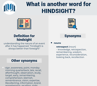 hindsight, synonym hindsight, another word for hindsight, words like hindsight, thesaurus hindsight