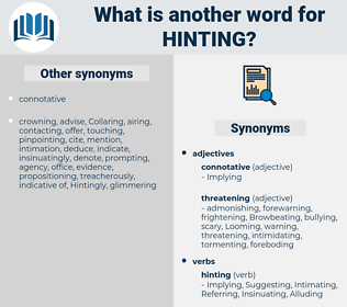 Hinting, synonym Hinting, another word for Hinting, words like Hinting, thesaurus Hinting