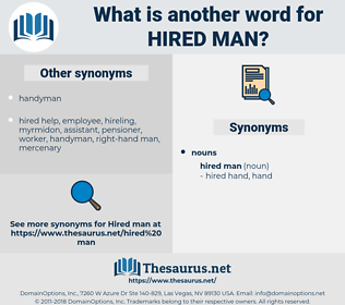 hired man, synonym hired man, another word for hired man, words like hired man, thesaurus hired man
