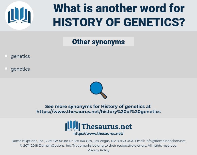 history of genetics, synonym history of genetics, another word for history of genetics, words like history of genetics, thesaurus history of genetics