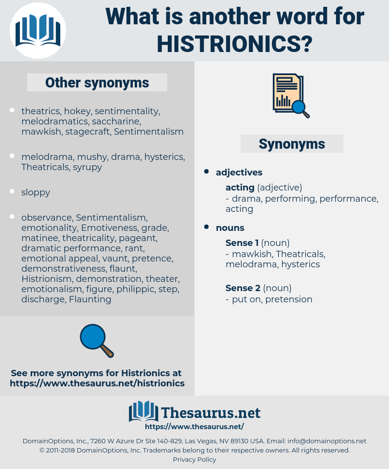 histrionics, synonym histrionics, another word for histrionics, words like histrionics, thesaurus histrionics