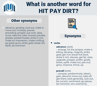 hit pay dirt, synonym hit pay dirt, another word for hit pay dirt, words like hit pay dirt, thesaurus hit pay dirt