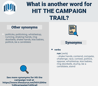 hit the campaign trail, synonym hit the campaign trail, another word for hit the campaign trail, words like hit the campaign trail, thesaurus hit the campaign trail