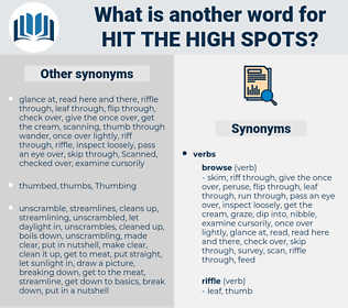 hit the high spots, synonym hit the high spots, another word for hit the high spots, words like hit the high spots, thesaurus hit the high spots