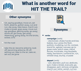 hit the trail, synonym hit the trail, another word for hit the trail, words like hit the trail, thesaurus hit the trail
