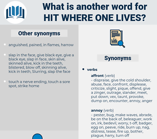 hit where one lives, synonym hit where one lives, another word for hit where one lives, words like hit where one lives, thesaurus hit where one lives